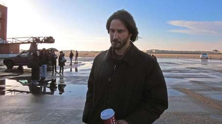 Keanu Reeves at Republic Airport in Farmingdale, filming