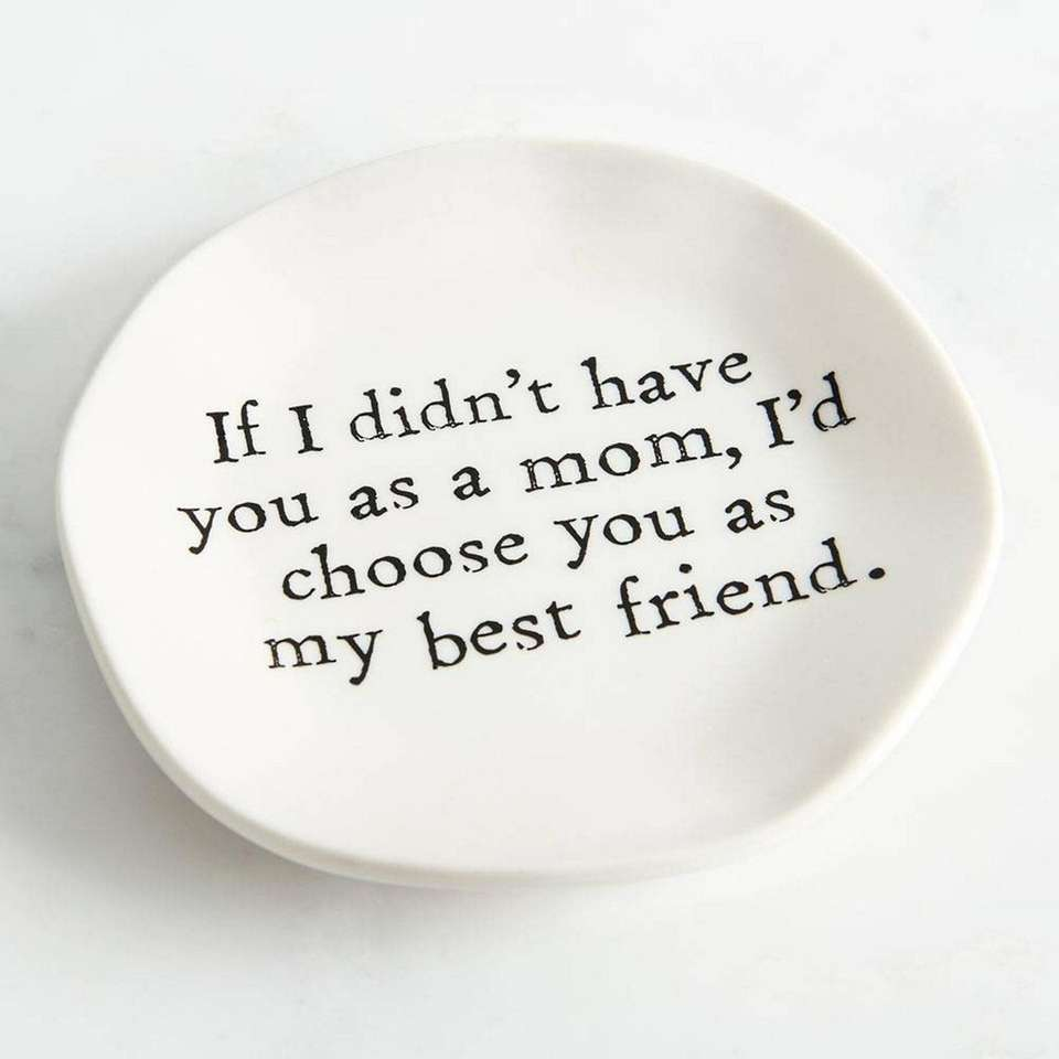 This small ceramic dish features a sweet Mother's