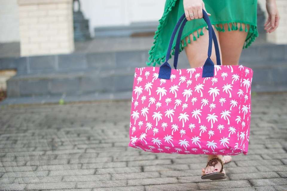 Colorful pool or beach totes that come in