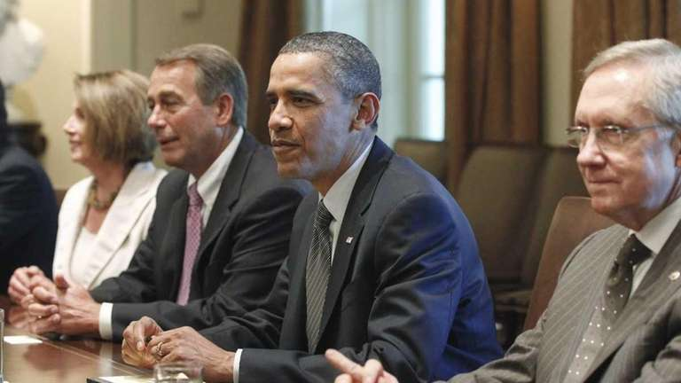 President Barack Obama meets with congressional leaders in