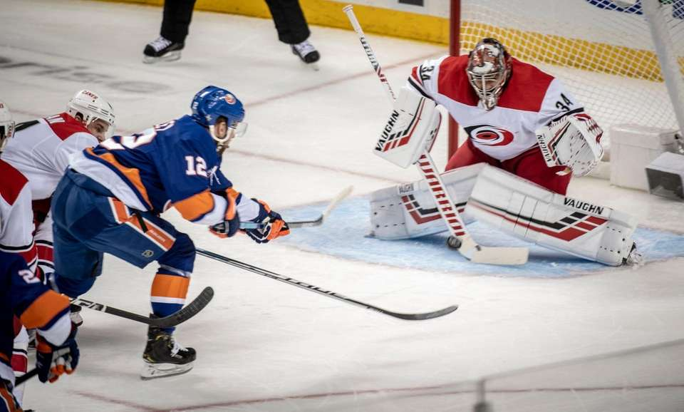 New York Islanders' Josh Bailey tried to score