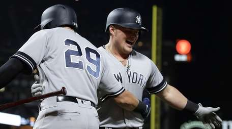 The Yankees' Luke Voit, right, is congratulated by