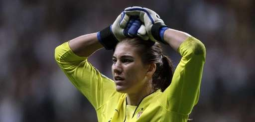 Hope Solo of the USA looks dejected after