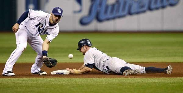 New York Yankees' Brett Gardner, right, steals second