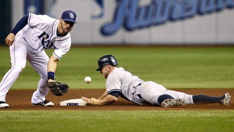 New York Yankees' Brett Gardner, right, steals second
