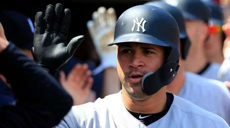 Gary Sanchez of the Yankees celebrates a grand