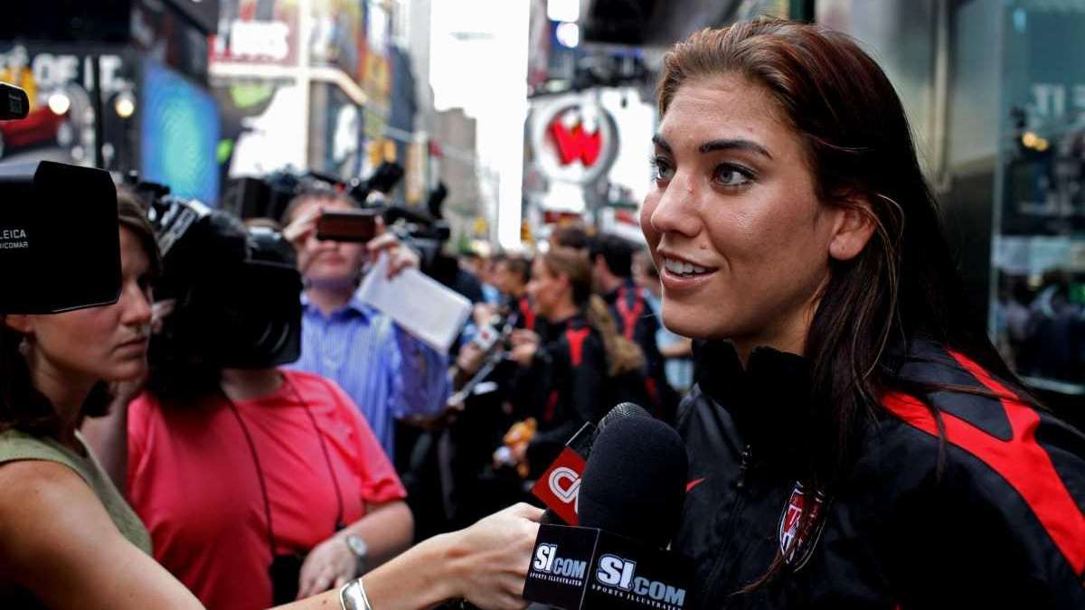 Hope Solo answers questions after she and members