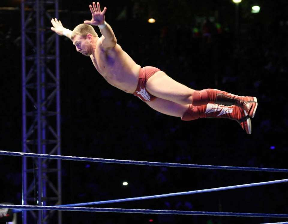 WWE Superstar Daniel Bryan flys off the ropes