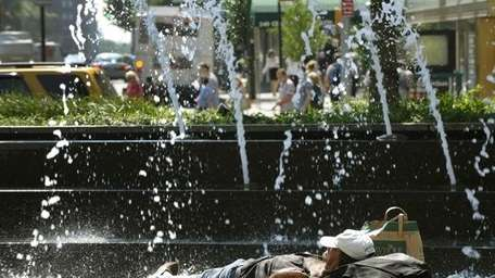 A man tries to beat the heat near
