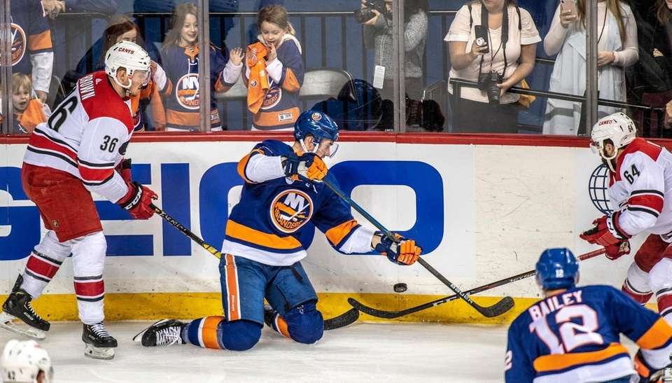 New York Islanders' Brock Nelson crapping from his