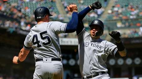 Gary Sanchez #24 of the Yankees celebrates his