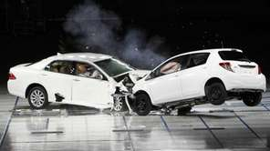 Toyota cars crash during a collision test in