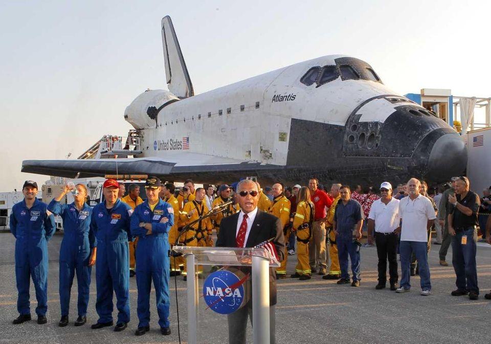 The NASA administrator, Charles Bolden, speaks as the