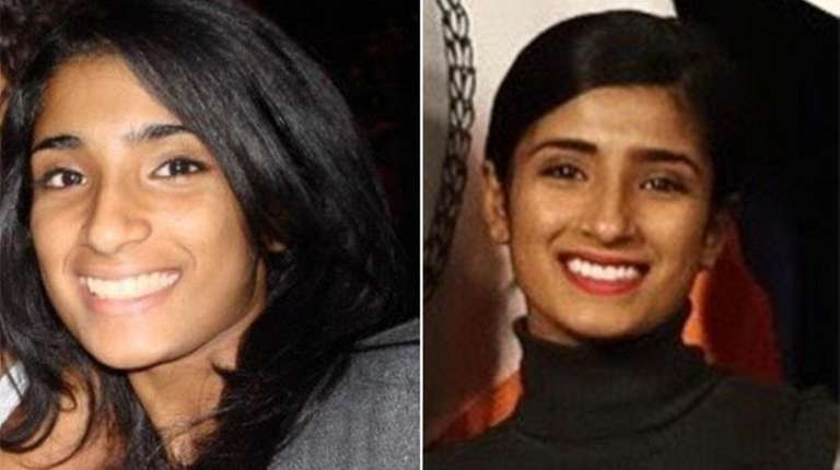 Amy Varghese, left, in 2009, and right, in