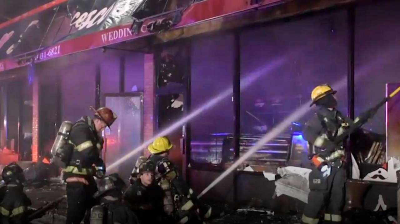 A late-night fire broke out at a Hicksville