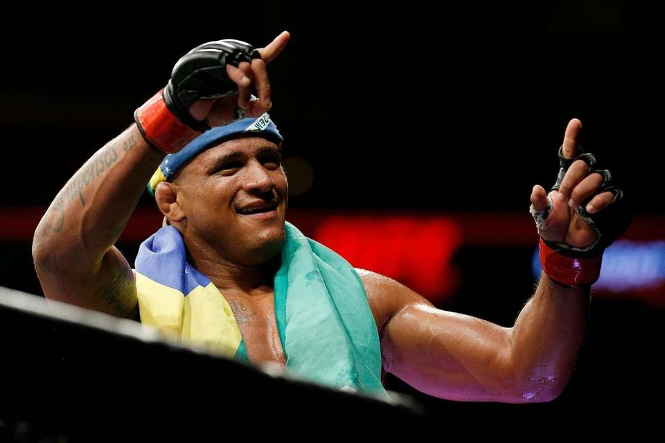 Gilbert Burns of Brazil reacts after defeating Mike