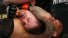 John Lineker fights Cory Sandhagen during their bantamweight