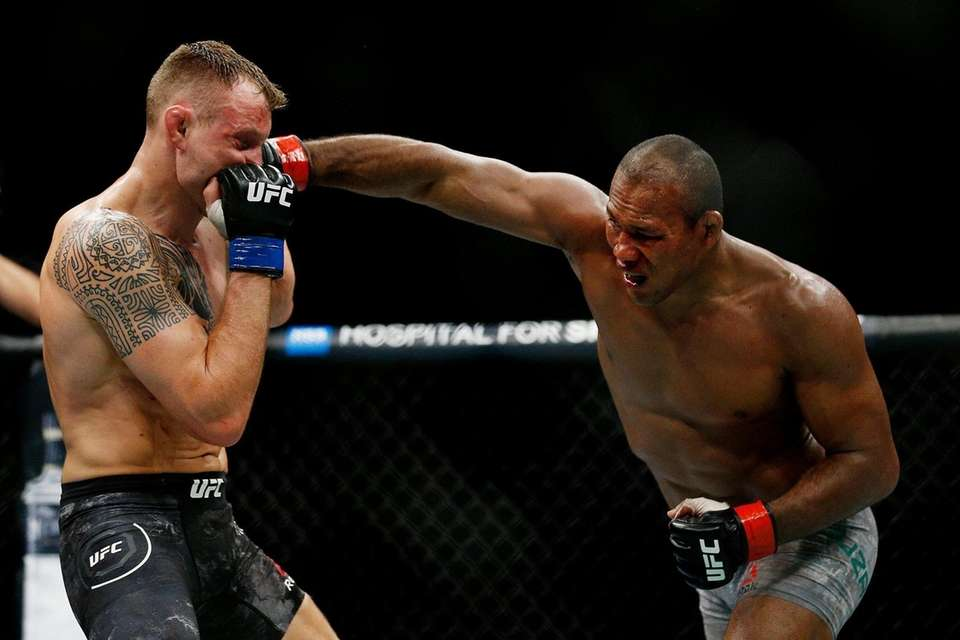 Ronaldo Souza of Brazil punches Jack Hermansson of