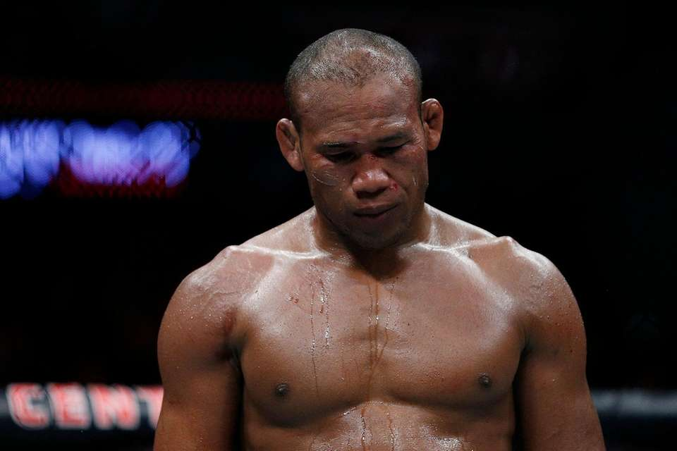 Ronaldo Souza of Brazil reacts during his middleweight