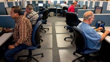 Job seekers at an employment center in Hauppauge