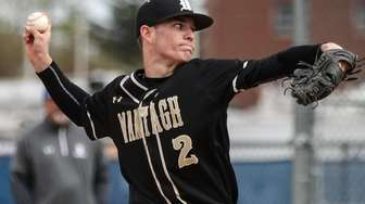 Wantagh starting pitcher Mason McLane delivers the pitch