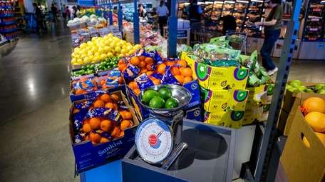The stores feature fresh produce and baked goods,