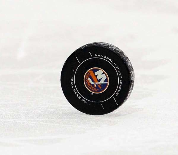 A puck is seen during the game between