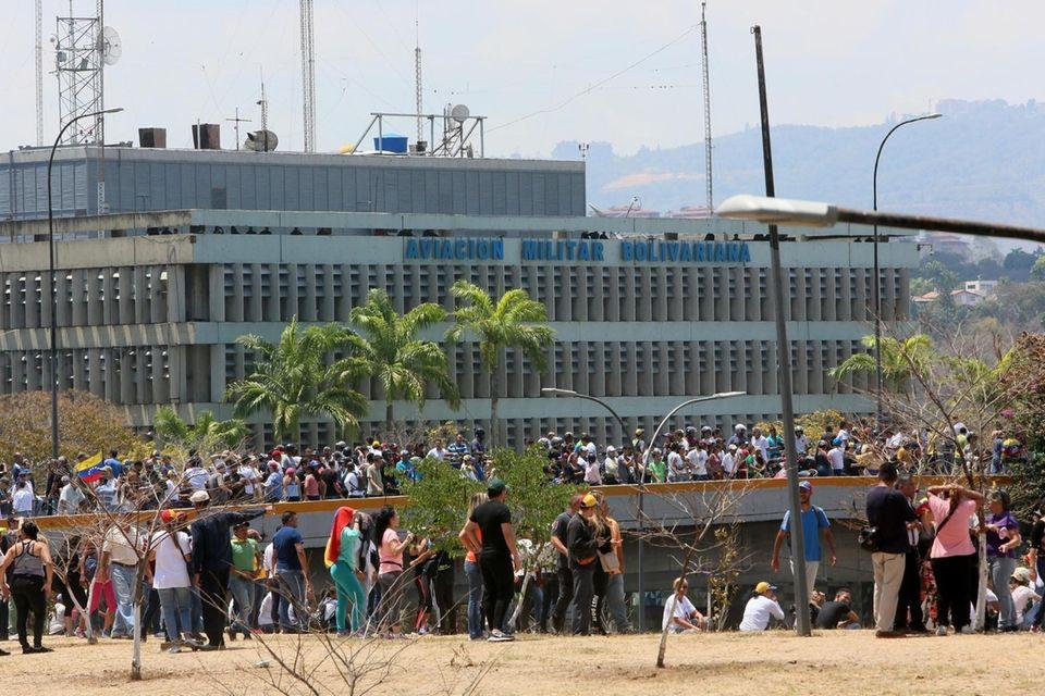 CARACAS, VENEZUELA - APRIL 30: Demonstrators gather near