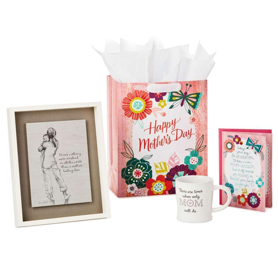 This gift set comes with framed art, which