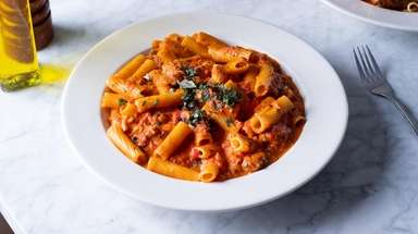 Rigatoni Norcina takes in bacon, sausage and pancetta