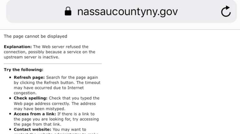 The Nassau County assessment challenge website went down