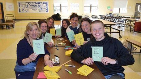 Students in Bayport-Blue Point High School's Peers-to-Peers program