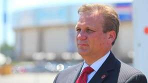 Nassau County Executive Edward Mangano speaks outside the