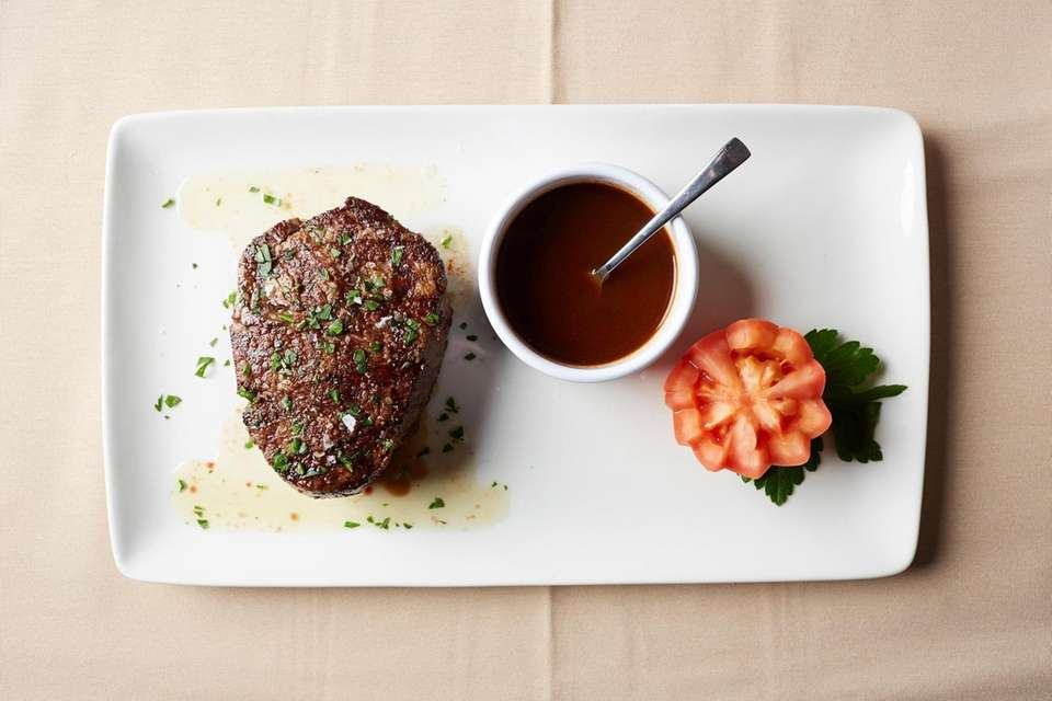 Filet mignon with a veal red wine glace,