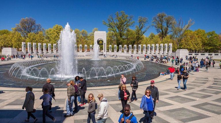 The World War II Memorial sprawls across 7.5.