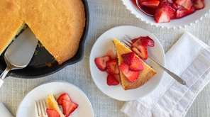 Cornmeal poundcake is baked in a skillet and
