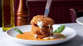 The three-tier, panko-fried stack of fresh mozzarella is