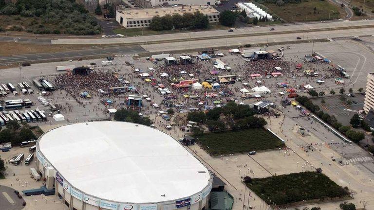 An aerial view of Nassau Coliseum