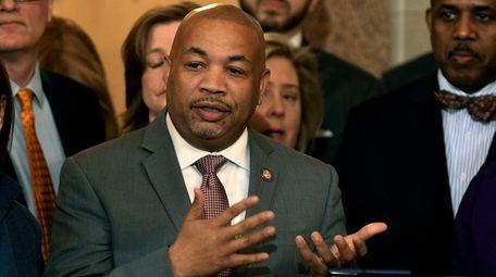 Assembly Speaker Carl Heastie (D-Bronx) speaks on Jan.