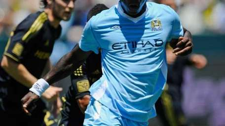 Mario Balotelli of Manchester City in action against