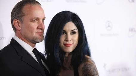 Jesse James (L) and Kat Von D attend