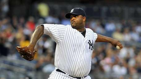 CC Sabathia, pitching early in the game, was
