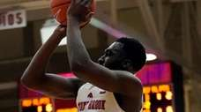 Stony Brook guard Akwasi Yeboah shoots a pull-up