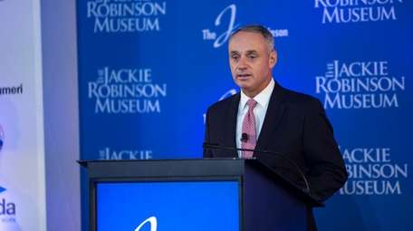 Rob Manfred, MLB Commissioner, gives a remark during