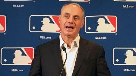 Major League Baseball commissioner Rob Manfred speaks at