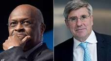 Herman Cain, left, and Stephen Moore.