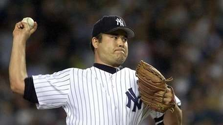 Undated photo of Hideki Irabu throwing a pitch