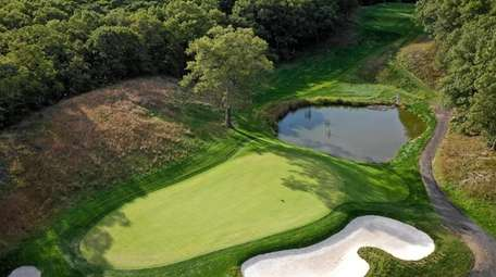 An aerial view of hole No. 8 at