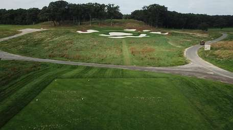 An aerial of the 17th hole of the