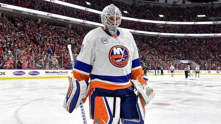 Robin Lehner of the Islanders leaves the ice